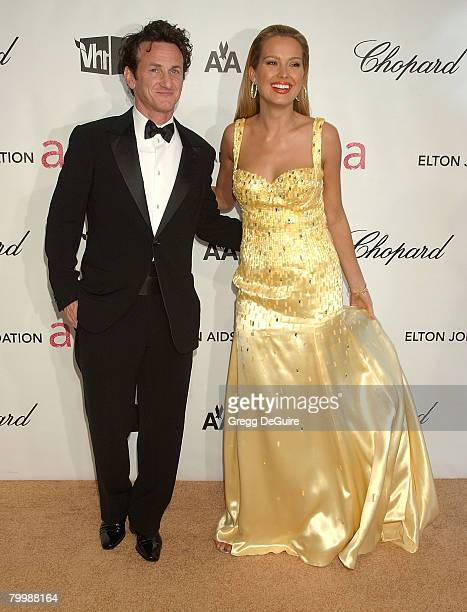 Actor Sean Penn and model Petra Nemcova attend the 16th Annual Elton John AIDS Foundation Oscar Party at the Pacific Design Center on February 24...