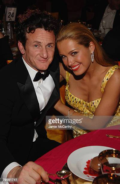 HOLLYWOOD FEBRUARY 24 Actor Sean Penn and Model Petra Nemcova attend the 16th Annual Elton John AIDS Foundation Academy Awards viewing party at the...