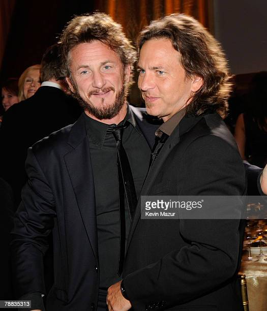Actor Sean Penn and Musician Eddie Vedder pose inside at the 13th ANNUAL CRITICS' CHOICE AWARDS at the Santa Monica Civic Auditorium on January 7,...