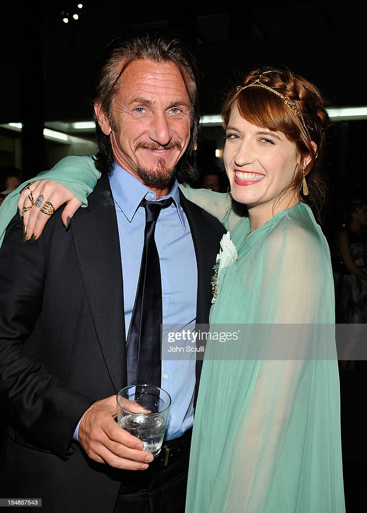 Actor Sean Penn and singer Florence Welch attend LACMA 2012 Art + Film Gala Honoring Ed Ruscha and Stanley Kubrick presented by Gucci at LACMA on October 27, 2012 in Los Angeles, California.