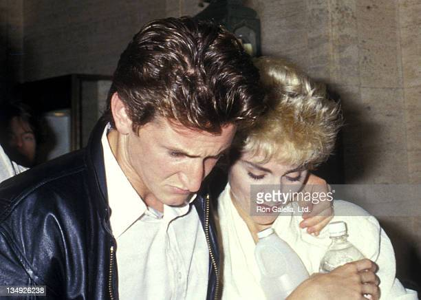 Actor Sean Penn and singer Madonna on July 13, 1987 leave for an after party for Madonna's Who's That Girl World Tour Concert at Madison Square...