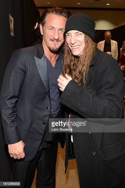 Actor Sean Penn and singer Patti Smith attend MusiCares Person Of The Year Honoring Bruce Springsteen at Los Angeles Convention Center on February 8,...