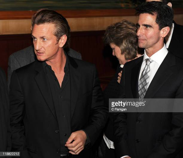 Actor Sean Penn and State Senator Mark Leno speak during the Harvey Milk Day Press Conference at the Tosca Cafe on March 3 2009 in San Francisco...