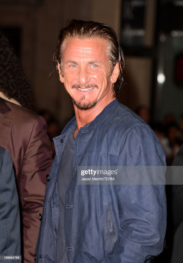 Actor Sean Penn arrives at Warner Bros. Pictures' 'Gangster Squad' premiere at Grauman's Chinese Theatre on January 7, 2013 in Hollywood, California.