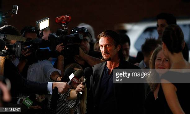 Actor Sean Penn arrives for An Evening with Livestrong at the Austin Convention Center on October 19 2012 in Austin Texas AFP PHOTO/Aaron M Sprecher
