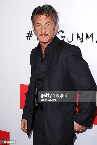 """Actor Sean Penn attends the premiere of """"The Gunman"""" at Regal Cinemas L.A. Live on March 12, 2015 in Los Angeles, California."""