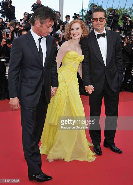 Actor Sean Penn Jessica Chastain and Brad Pitt attend 'The Tree Of Life' premiere during the 64th Annual Cannes Film Festival at Palais des Festivals...