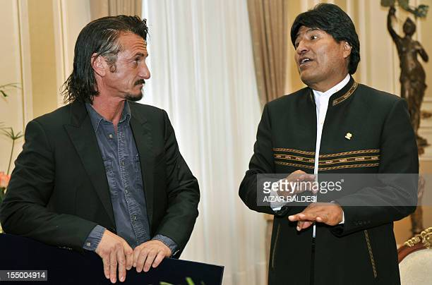 US actor Sean Penn listens to Bolivian President Evo Morales during a meeting at the Quemado presidential palace in La Paz on October 30 2012 AFP...