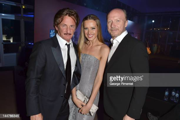 Actor Sean Penn model Petra Nemcova and director Paul Haggis attend the Haiti Carnival in Cannes Benefitting J/P HRO Artists for Peace and Justice...