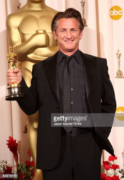 Actor Sean Penn poses in the press room after winning the award for Best Actor for 'Milk' at the 81st Annual Academy Awards held at Kodak Theatre on...