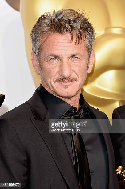 Actor Sean Penn poses in the press room during the 87th Annual Academy Awards at Loews Hollywood Hotel on February 22 2015 in Hollywood California