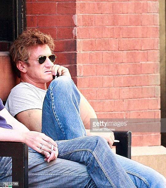 Actor Sean Penn sighting enjoying a cigarette and talking on his cellphone in SOHO on September 4 2007 in New York City, NY.