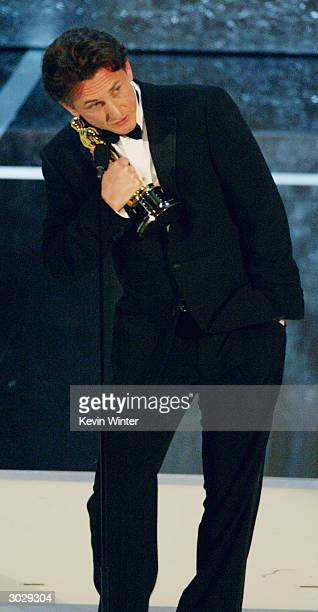 Actor Sean Penn speaks on stage during the 76th Annual Academy Awards at the Kodak Theater on February 29, 2004 in Hollywood, California.