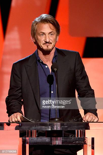Actor Sean Penn speaks onstage during the 2016 Film Independent Spirit Awards on February 27 2016 in Santa Monica California