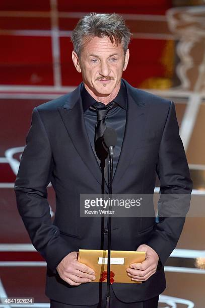 Actor Sean Penn speaks onstage during the 87th Annual Academy Awards at Dolby Theatre on February 22 2015 in Hollywood California