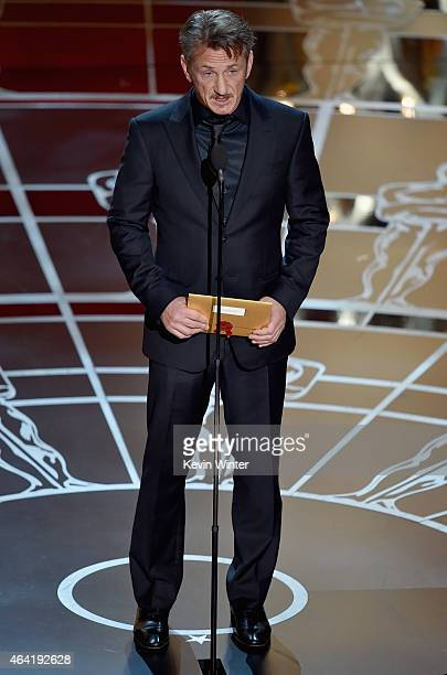 Actor Sean Penn speaks onstage during the 87th Annual Academy Awards at Dolby Theatre on February 22, 2015 in Hollywood, California.