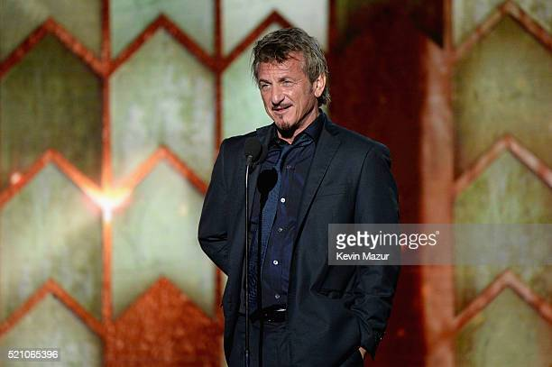 Actor Sean Penn speaks onstage during the launch of the Parker Institute for Cancer Immunotherapy an unprecedented collaboration between the...