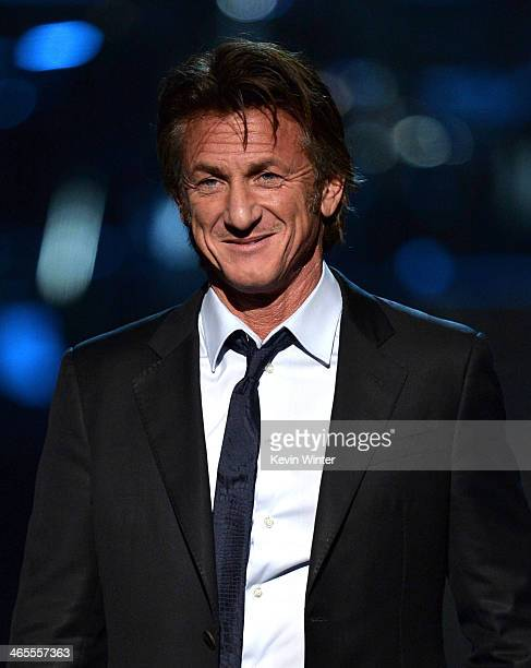 Actor Sean Penn speaks onstage during 'The Night That Changed America A GRAMMY Salute To The Beatles' at the Los Angeles Convention Center on January...