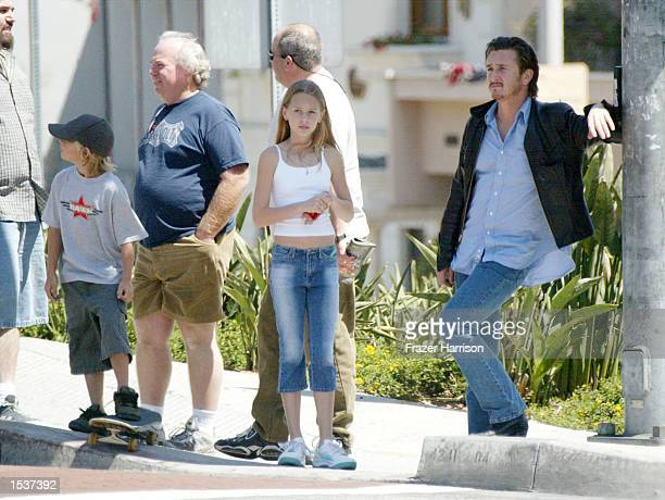 Actor Sean Penn spends the day shopping with his daughter Dylan Frances and son Hopper Jack on Sunset Plaza April 23 2002 in Hollywood CA