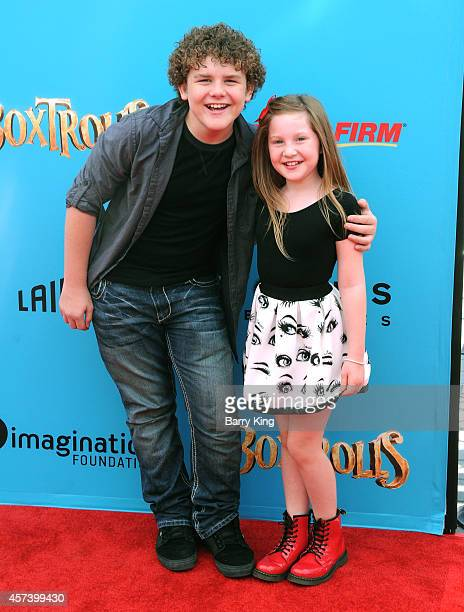 Actor Sean Ryan Fox and actress Ella Anderson attend the premiere of 'The Boxtrolls' at Universal CityWalk on September 21, 2014 in Universal City,...