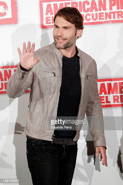 Actor Seann William Scott attends 'American Pie Reunion' photocall at Villamagna Hotel on April 19 2012 in Madrid Spain