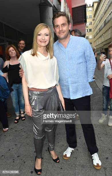 Actor Sebastian Bezzel and his wife Johanna Christine Gehlen during the 'Griessnockerlaffaere' premiere at Mathaeser Filmpalast on August 1 2017 in...