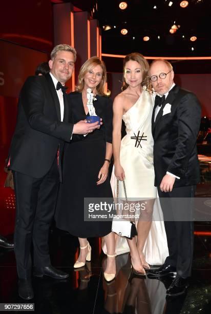 Actor Sebastian Bezzel Kerstin Schmidbauer Lisa Maria Potthoff and Simon Schwarz during the Bayerischer Filmpreis 2018 at Prinzregententheater on...