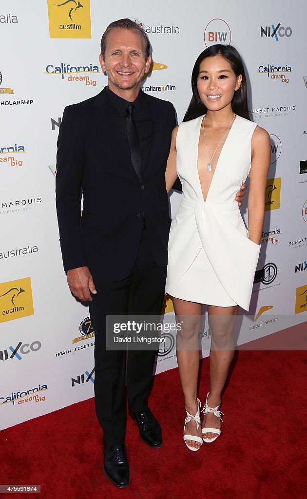 Actor Sebastian Roche (L) and wife actress Alicia Hannah attend Australians In Film Heath Ledger Scholarship Announcement Dinner at Sunset Marquis Hotel & Villas on June 1, 2015 in West Hollywood, California.