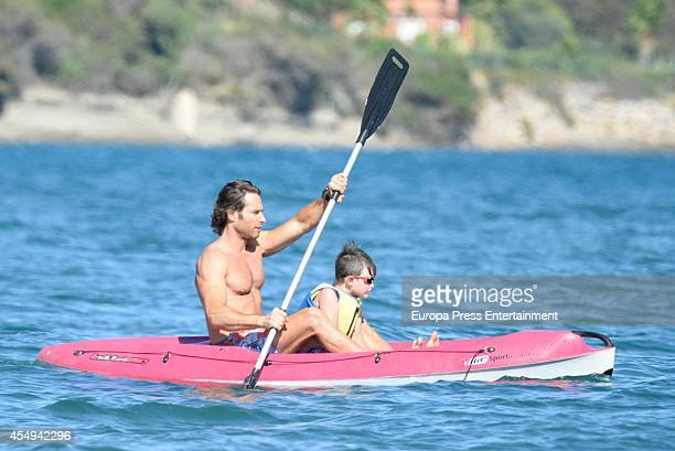 Actor Sebastian Rulli and his son Santiago Rulli are seen on September 7 2014 in Marbella Spain