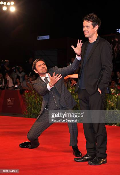 """Actor Sebastian Schipper and director Tom Tykwer attend the """"Drei"""" premiere during the 67th Venice Film Festival at the Sala Grande Palazzo Del..."""