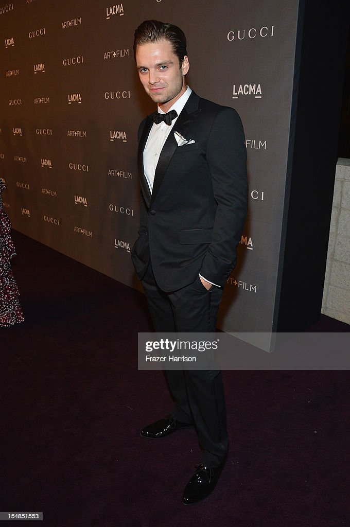 Actor Sebastian Stan arrives at LACMA 2012 Art + Film Gala Honoring Ed Ruscha and Stanley Kubrick presented by Gucci at LACMA on October 27, 2012 in Los Angeles, California.