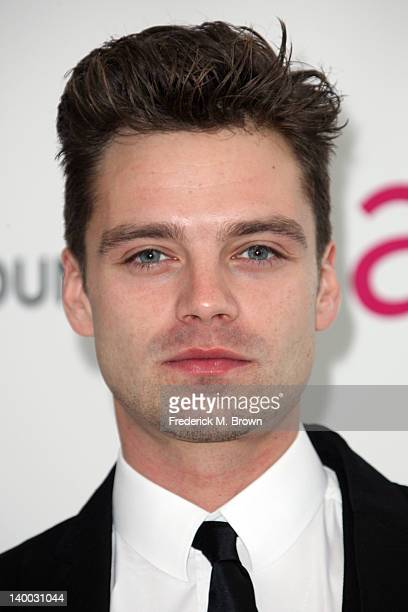 Actor Sebastian Stan arrives at the 20th Annual Elton John AIDS Foundation's Oscar Viewing Party held at West Hollywood Park on February 26 2012 in...