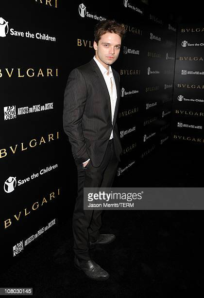 Actor Sebastian Stan arrives at the Bvlgari private event honoring Simon Fuller and Paul Haggis to benefit Save The Children and Artists For Peace...