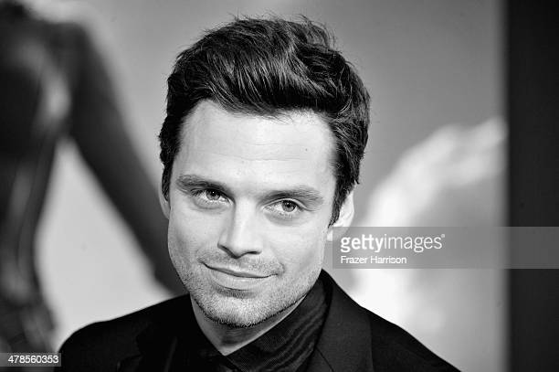 Image converted to Black and white from Color original Actor Sebastian Stan arrives at the premiere Of Marvel's Captain AmericaThe Winter Soldier at...