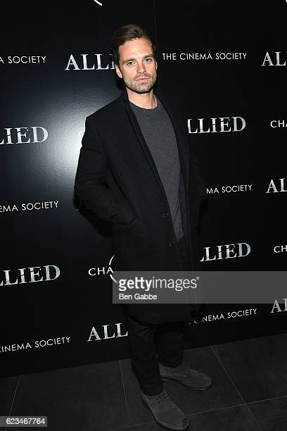 Actor Sebastian Stan attends a special screening of Allied hosted by Paramount Pictures The Cinema Society Chandon at iPic Fulton Market on November...