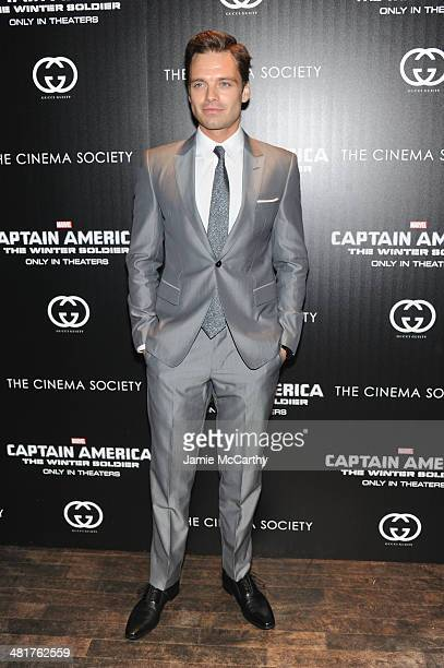 Actor Sebastian Stan attends The Cinema Society Gucci Guilty screening of Marvel's Captain America The Winter Soldier at Tribeca Grand Hotel on March...