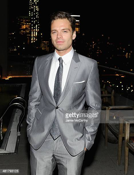 Actor Sebastian Stan attends The Cinema Society Gucci Guilty screening of Marvel's Captain America The Winter Soldier after party at The Jimmy at the...