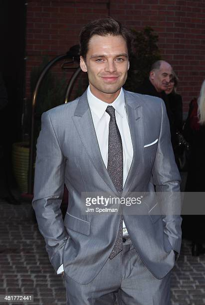 Actor Sebastian Stan attends The Cinema Society Screening of Captain America The Winter Soldier Screening at Tribeca Grand Hotel on March 31 2014 in...