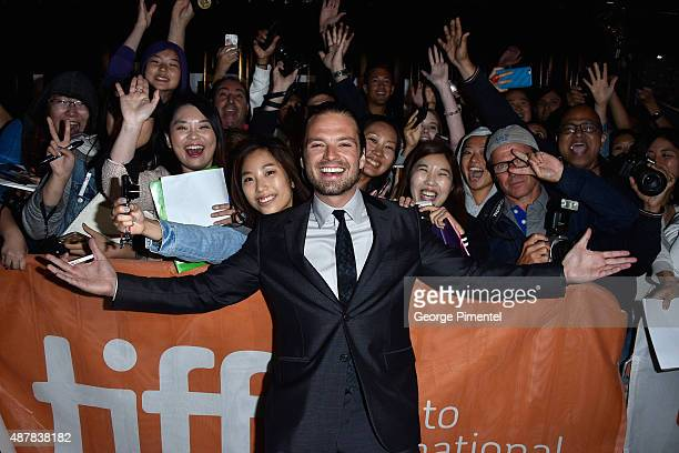 Actor Sebastian Stan attends The Martian press conference during the 2015 Toronto International Film Festival at TIFF Bell Lightbox on September 11...