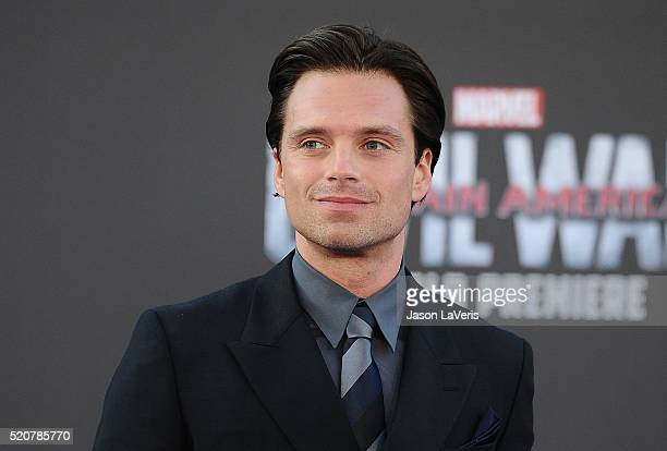 Actor Sebastian Stan attends the premiere of Captain America Civil War at Dolby Theatre on April 12 2016 in Hollywood California