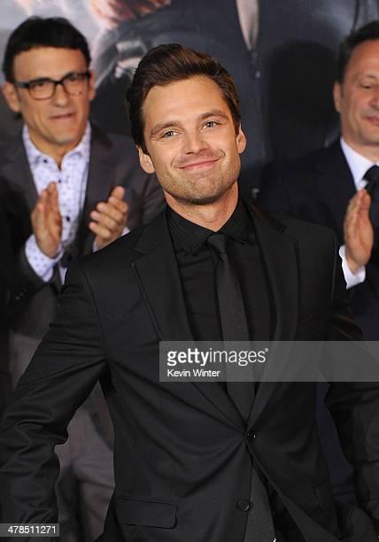 cbf9160e47 Actor Sebastian Stan attends the premiere of Marvel s Captain America The  Winter Soldier at the El