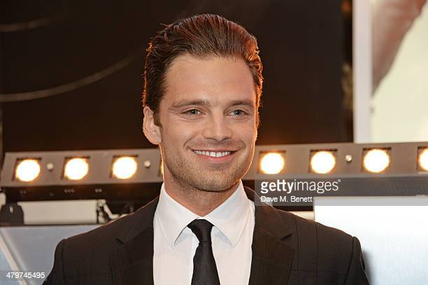 Actor Sebastian Stan attends the UK Film Premiere of Captain America The Winter Soldier at Westfield London on March 20 2014 in London England