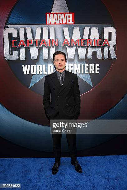 Actor Sebastian Stan attends The World Premiere of Marvel's 'Captain America Civil War' at Dolby Theatre on April 12 2016 in Los Angeles California