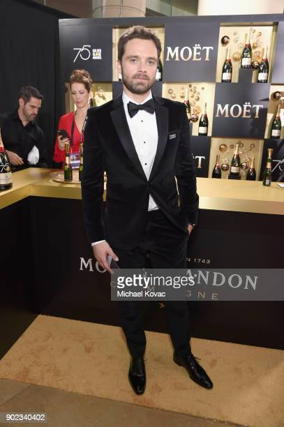 Actor Sebastian Stan celebrates The 75th Annual Golden Globe Awards with Moet Chandon at The Beverly Hilton Hotel on January 7 2018 in Beverly Hills...