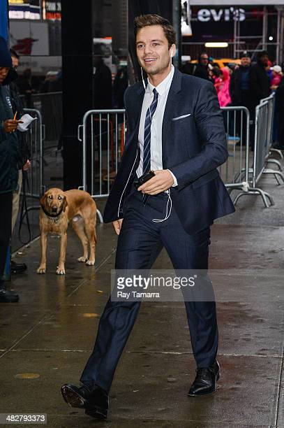Actor Sebastian Stan enters the Good Morning America taping at the ABC Times Square Studios on April 4 2014 in New York City