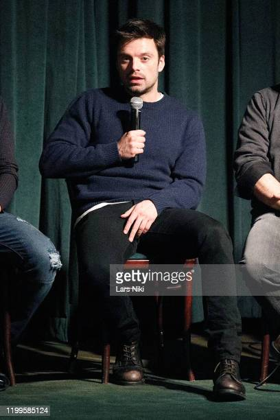 """Actor Sebastian Stan on stage during a special screening of """"The Last Full Measure"""" for active and retired military servicemen hosted by actor..."""