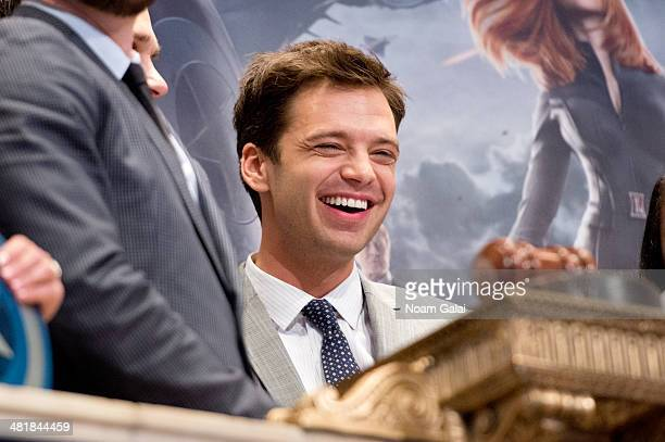 Actor Sebastian Stan star of Marvels 'Captain America The Winter Soldier' rings the NYSE opening bell at New York Stock Exchange on April 1 2014 in...