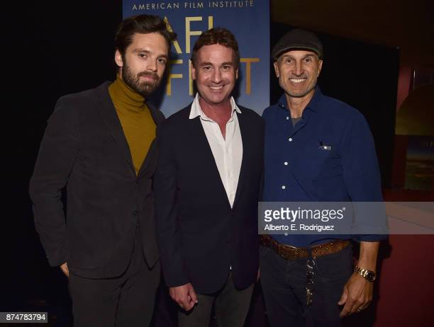 Actor Sebastian Stan writer Steven Rogers and director Craig Gillespie attend a screening of I Tonya during AFI FEST 2017 Presented By Audi at...