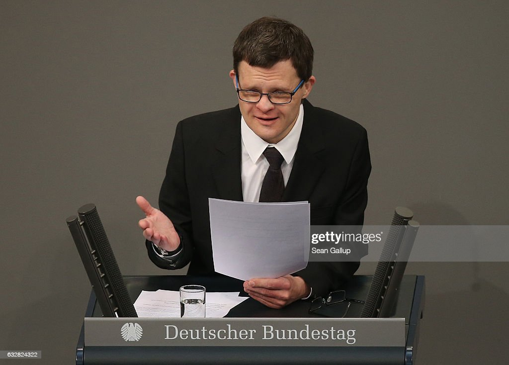 Actor Sebastian Urbanski, who suffers from Down Syndrome, reads a letter by Ernst Putzki, a handicapped man interned and murdered by the Nazis, at the Bundestag during a ceremony to mark International Holocaust Remembrance Day on January 27, 2017 in Berlin, Germany. This year Germany is commemorating he approximately 100,000 mentally handicapped people murdered by the Nazis during the Holocaust.