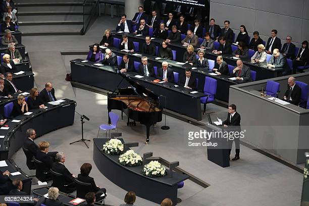 Actor Sebastian Urbanski, who suffers from Down Syndrome, reads a letter by Ernst Putzki, a handicapped man interned and murdered by the Nazis, at...